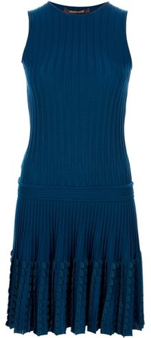 Roberto Cavalli Pleated Knit Dress - Lyst