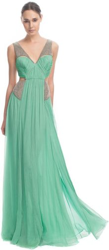 Matthew Williamson Ss Crinkle Chiffon Embroidered Cut Out Gown - Lyst
