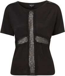 Topshop Lace Cross Tee - Lyst