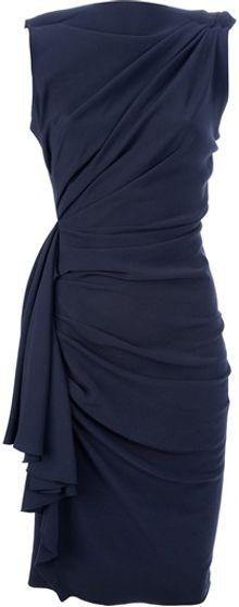 Lanvin Draped and Gathered Fitted Dress - Lyst