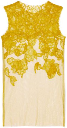 Vera Wang Ss Chantilly Lace Tank in Chartreuse - Lyst