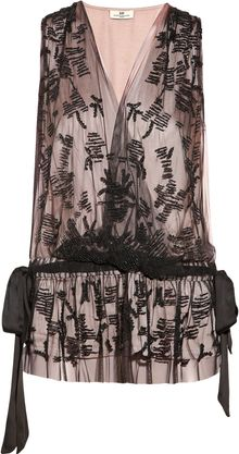Day Birger Et Mikkelsen Embellished Tulle and Satin Wrapeffect Top - Lyst