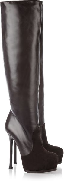 Saint Laurent Tribtoo Leather and Suede Knee Boots - Lyst