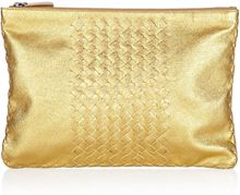Bottega Veneta Metallic Intrecciato Leather Pouch - Lyst