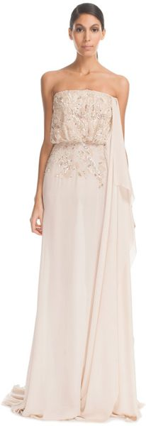 Elie Saab Vanilla Strapless Silk Georgette Embroidered Dress - Lyst