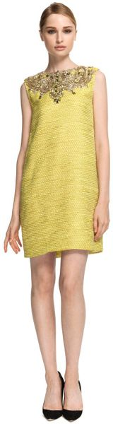 Marchesa Embellished Metallic Weave Shift Dress - Lyst