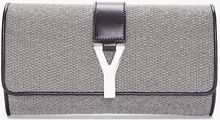 Saint Laurent Silver Metallic Leather Chyc Clutch - Lyst