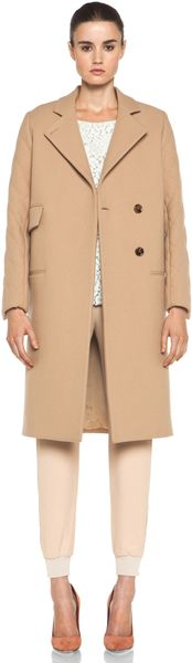 Chloé Quilted Arm Coat in Camel - Lyst