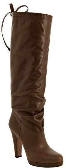 Prada  Leather Bow Detail Slouched Boots - Lyst