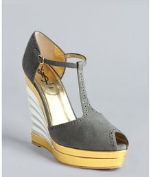 Saint Laurent Grey Suede Robyn 105 Tstrap Fan Wedges - Lyst