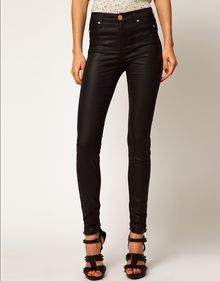 River Island Black Coated Molly Jeggings - Lyst