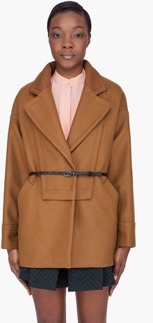 See By Chloé Tan Belted Oversized Drop Shoulder Coat - Lyst