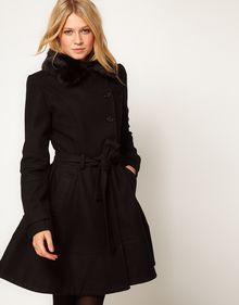 ASOS Collection  Fur Trim Fit and Flare Coat - Lyst