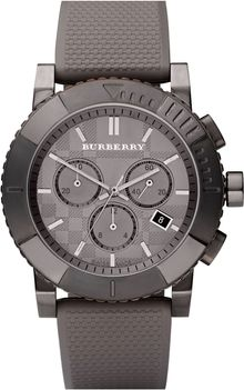 Burberry Rubber Strap Round Chronograph Watch - Lyst