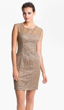 Sue Wong Embroidered Illusion Yoke Tulle Dress - Lyst