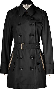 Burberry Brit Black Midlength Cotton Poplin Double Throat Latch Trench Coat - Lyst