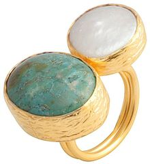 Toosis A Pearl and Turquoise Union Ring - Lyst
