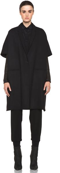 Neil Barrett Leather Sleeve Coat in Black - Lyst