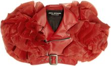 Junya Watanabe Faux Leather and Ruffled Organza Shrug - Lyst