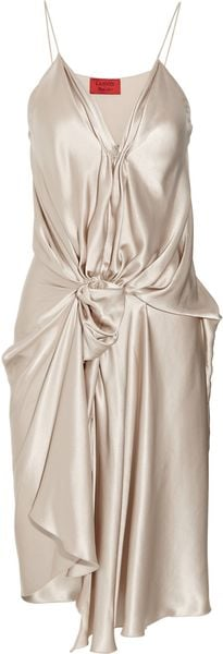 Lanvin Draped Silk Satin Dress - Lyst