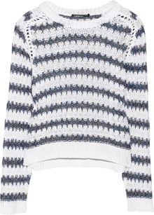 Theyskens' Theory Koro Striped Cotton and Linenblend Sweater - Lyst