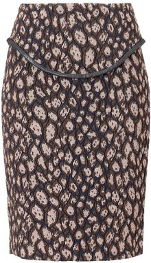 Yigal Azrouel Leopard Jacquard Pencil Skirt - Lyst
