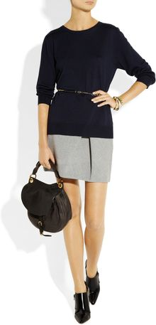 Miu Miu Belted Split-back Wool Sweater - Lyst