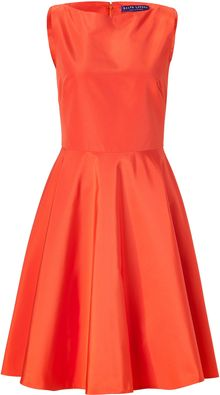 Ralph Lauren Collection Orange Cotton-silk Rebecca Dress - Lyst