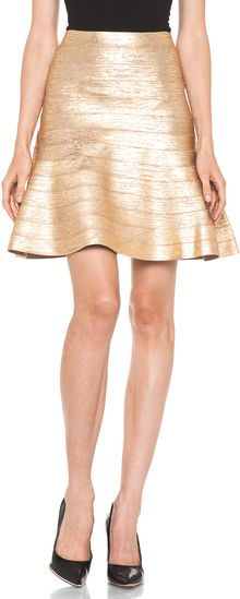 Hervé Léger A- Line Skirt in Gold - Lyst