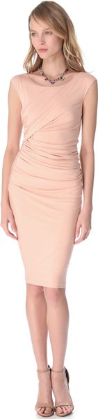 Donna Karan New York Cap Sleeve Drape Dress - Lyst