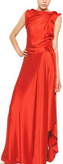 Lanvin Washed Silk Satin Asymmetrical Dress - Lyst