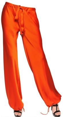 Roberto Cavalli Textured Silk Trousers - Lyst