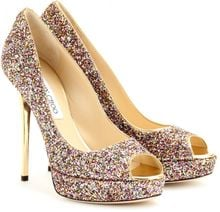 Jimmy Choo Crown Glitter Peep Toe Platform Pumps - Lyst