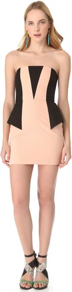 Mason by Michelle Mason Contrast Strapless Dress - Lyst