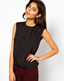 ASOS Collection Asos Top with Asymmetric Drape Front - Lyst