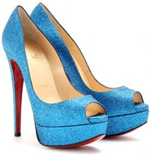 Christian Louboutin Lady Peep 150 Mini Glitter Pumps - Lyst