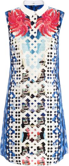 Peter Pilotto Flower Embellished Print Dress - Lyst
