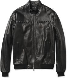 Valentino Studded Leather Bomber Jacket - Lyst
