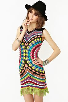 Nasty Gal Psychedelic Crochet Dress - Lyst