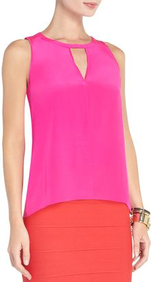 BCBGMAXAZRIA Cloe Silk Draped Back Halter Top - Lyst
