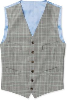 Richard James Grey Prince Of Wales Check Wool Suit Waistcoat - Lyst