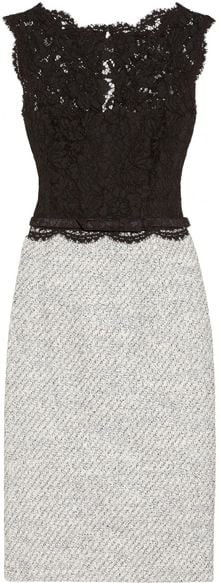 Valentino Belted Lace and Tweed Dress - Lyst