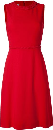 Valentino Red Braid Embellished Dress - Lyst