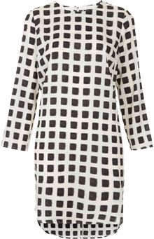 Topshop Grid Print Tunic Dress - Lyst