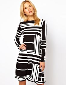 ASOS Collection Asos Swing Dress in Monochrome Angle Print - Lyst
