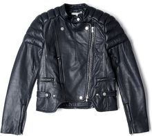 Carven Leather Ribbed Jacket - Lyst
