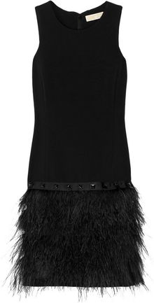 Michael by Michael Kors Ostrich Feather and Crepe Dress - Lyst
