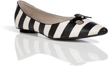Marc Jacobs Blackwhite Striped Leather Flats - Lyst