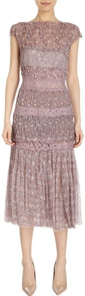 Nina Ricci Georgette and Lace Tiered Dress - Lyst