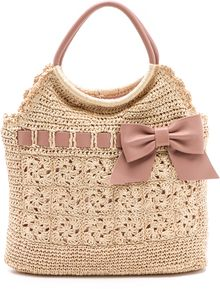 RED Valentino Crochet Raffia Top Handle Bag - Lyst